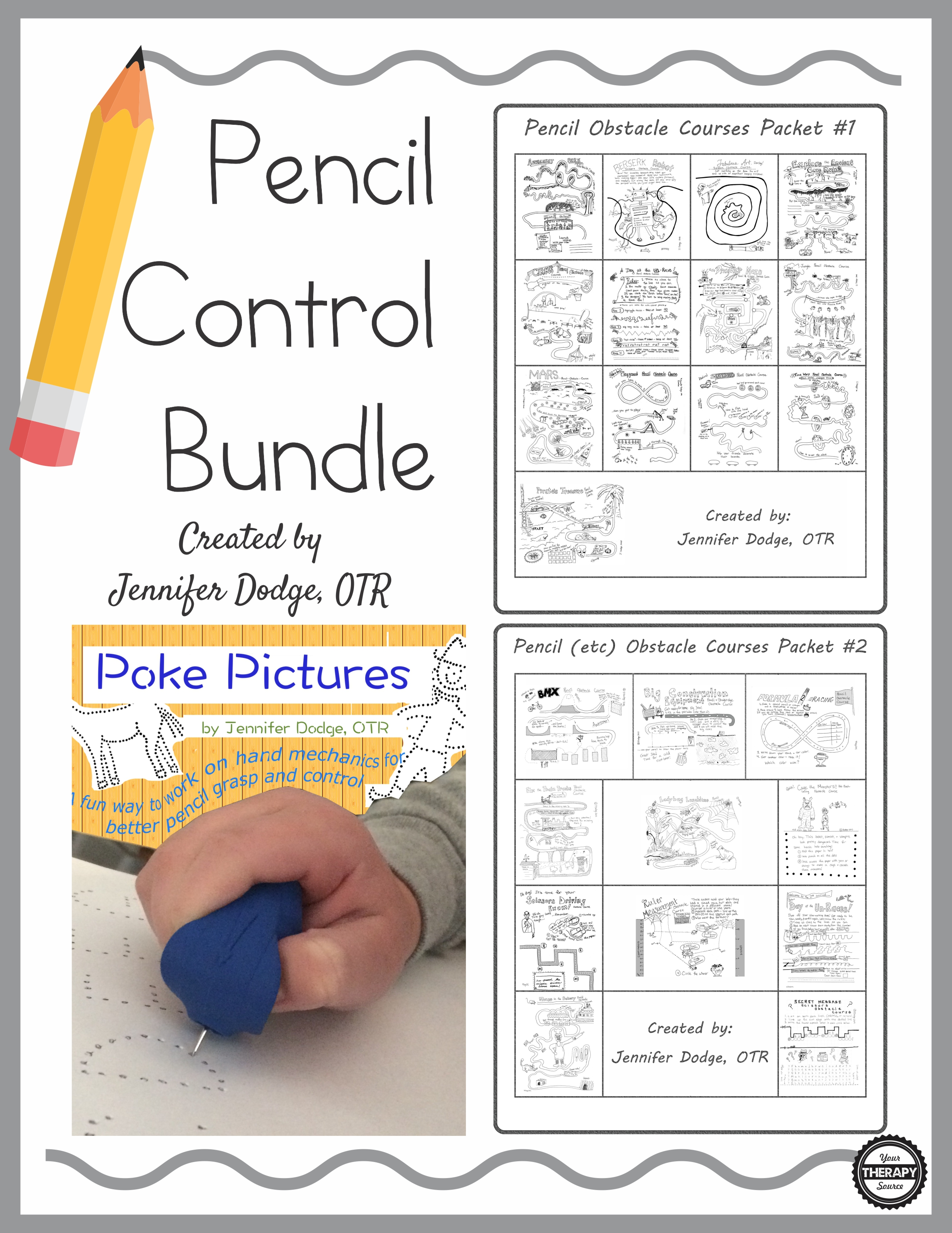 Pencil Control Bundle created by Jennifer Dodge OTR to encourage pencil grasp and control