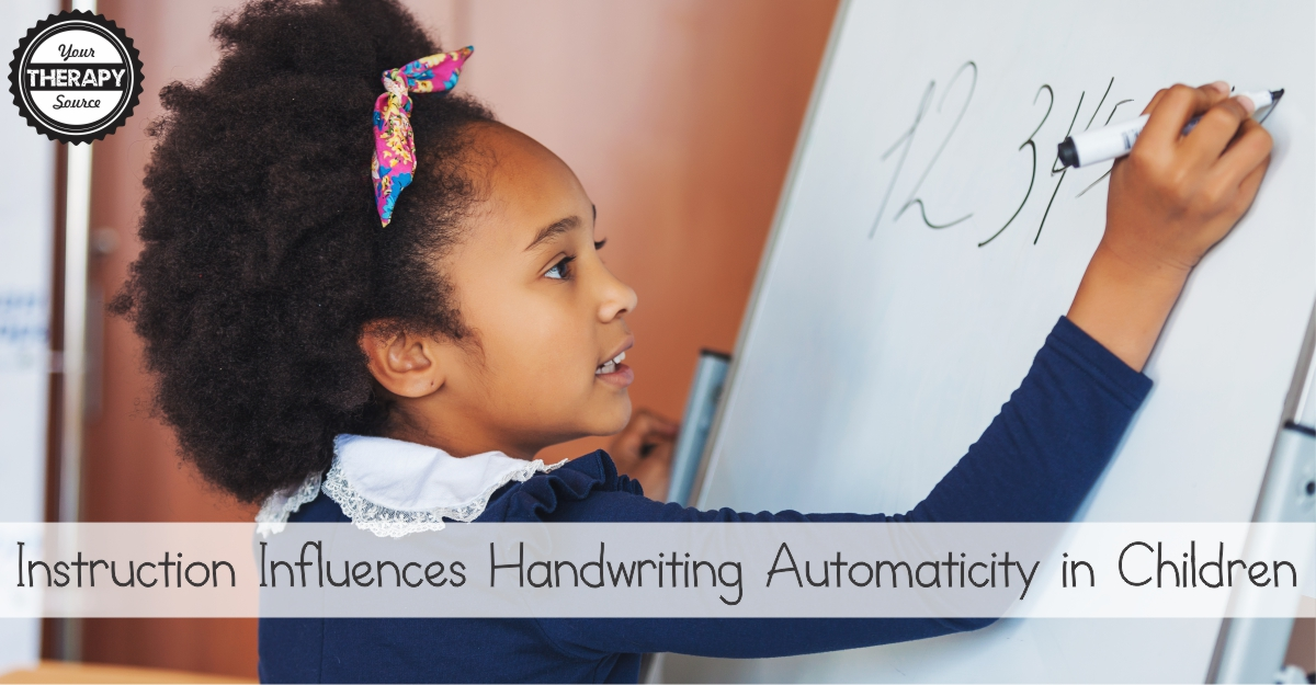 Instruction Influences Handwriting Automaticity in Children