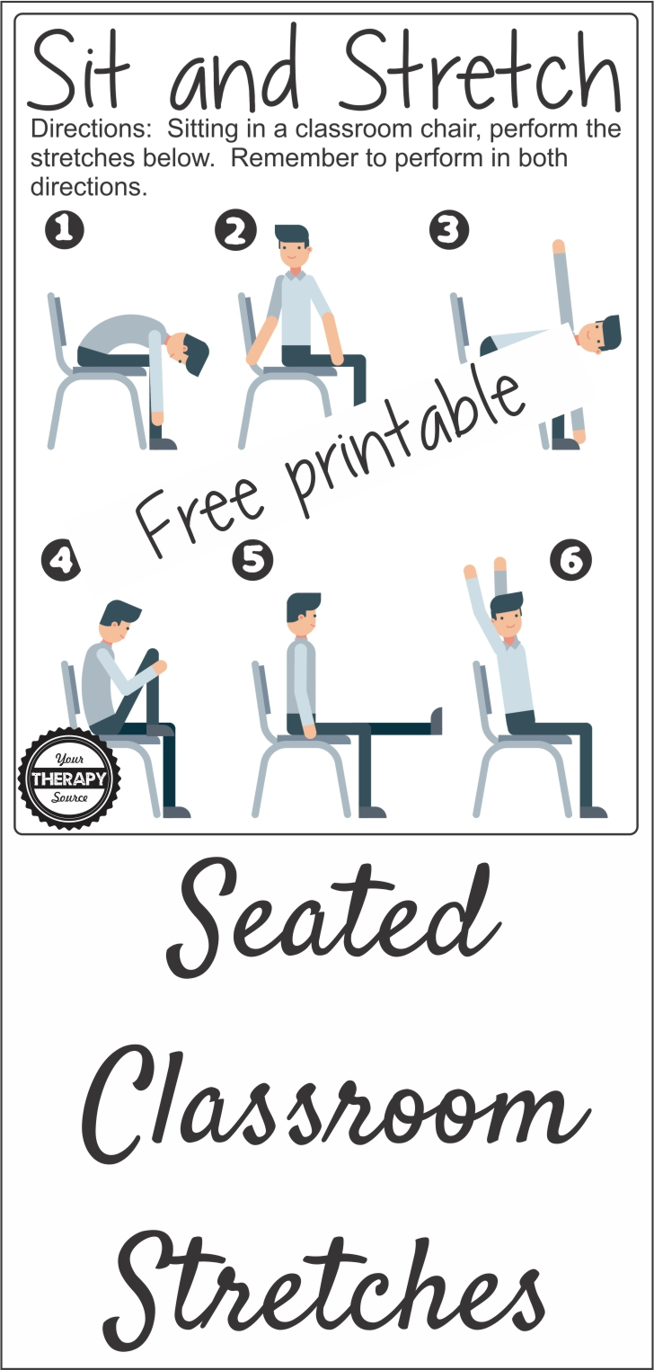 Seated Classroom Stretches Free Printable