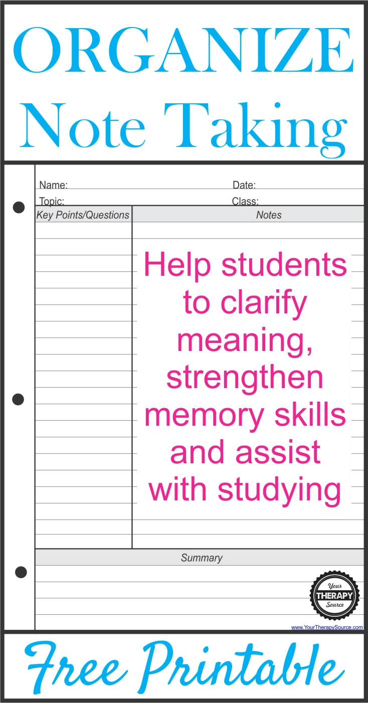 Help Students to Take Organized Notes
