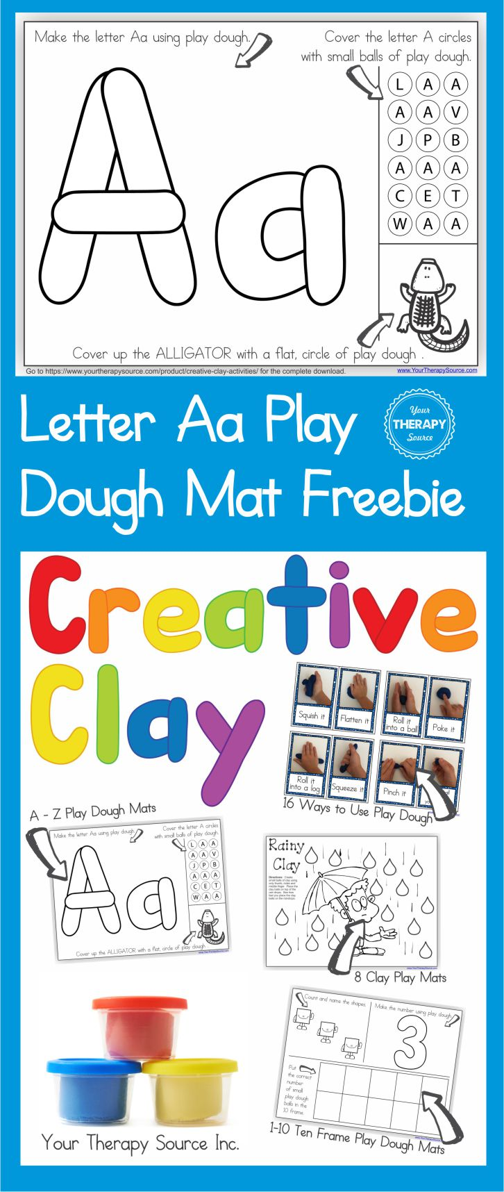 Alphabet Playdough Mat Letter Aa and More