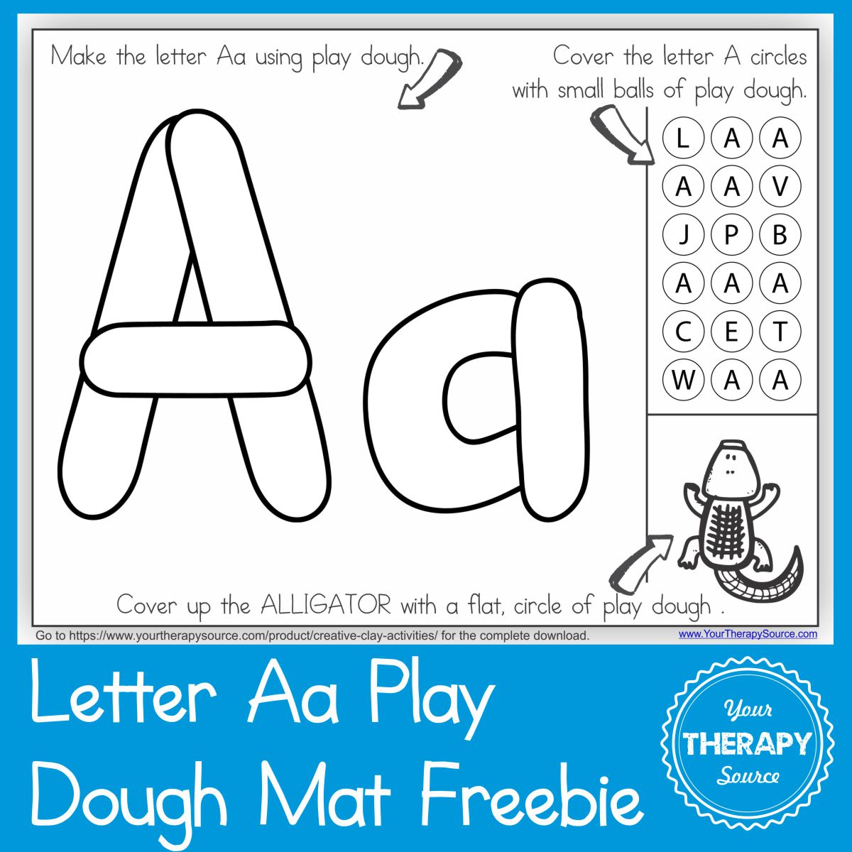 Alphabet Playdough Mat Letter Aa