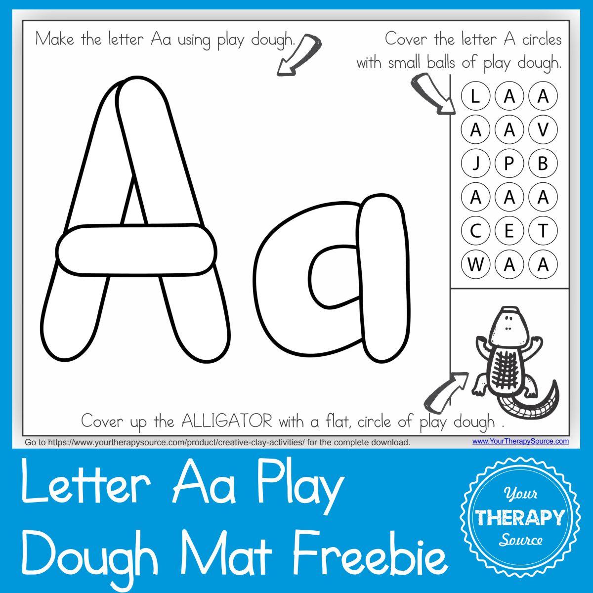 Alphabet Playdough Mat Letter Aa