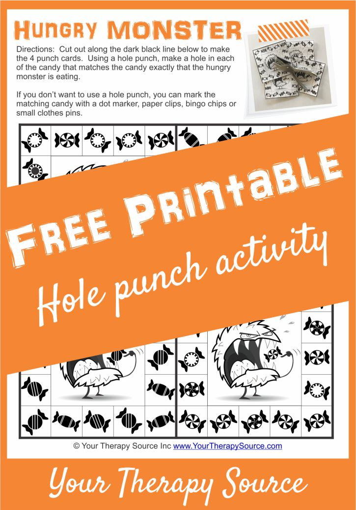 Hole Punch Free Printable Hungry Monster