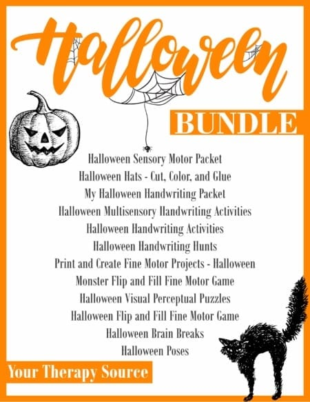 The Halloween Worksheets and Activities Bundle - encourage fine motor, gross motor, visual perceptual and handwriting skills all with a Halloween theme.