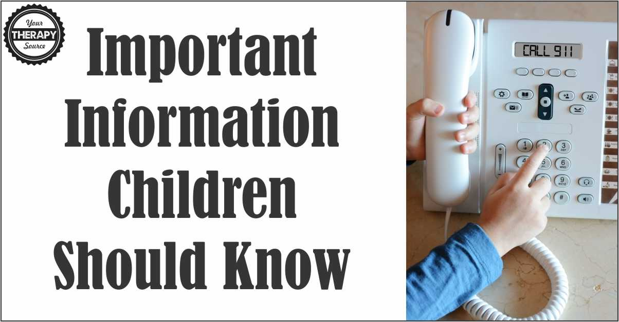 Important Information Children Should Know Life Skills