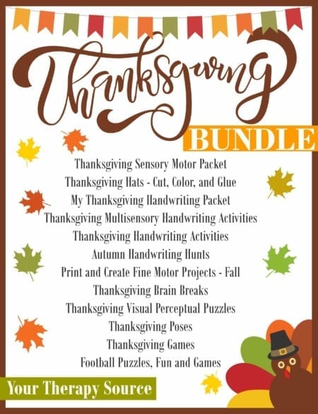 The Thanksgiving Sensory Motor Bundle includes 12 digital downloads that encourage fine motor, gross motor, visual perceptual and handwriting skills.