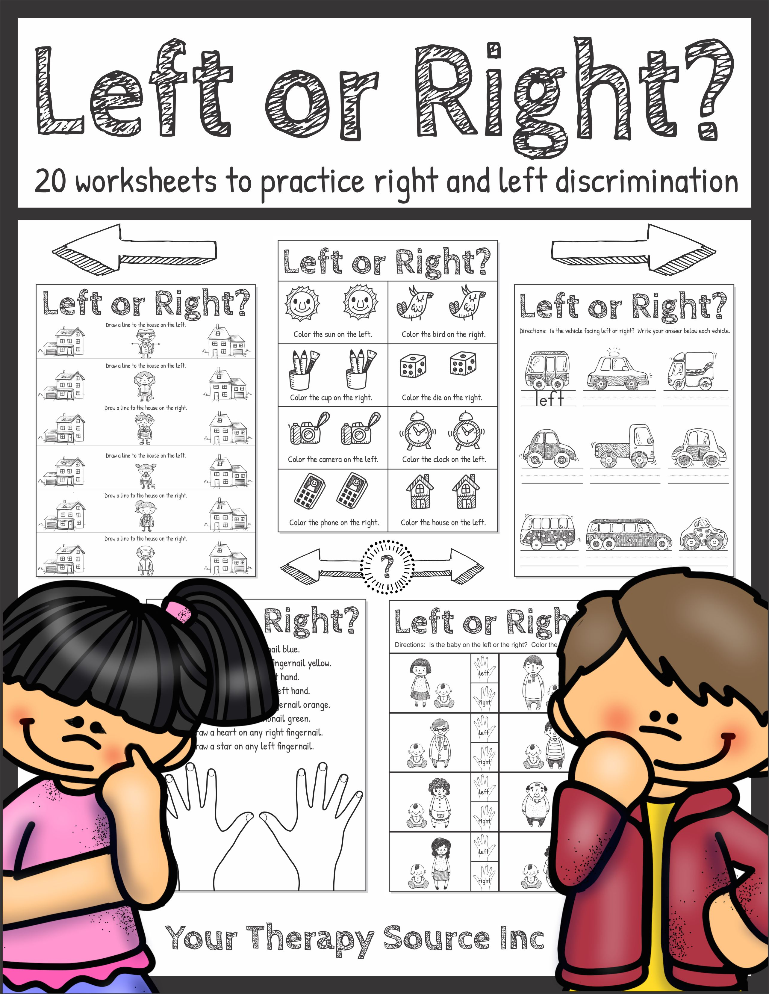 Left or Right Worksheets from Your Therapy Source