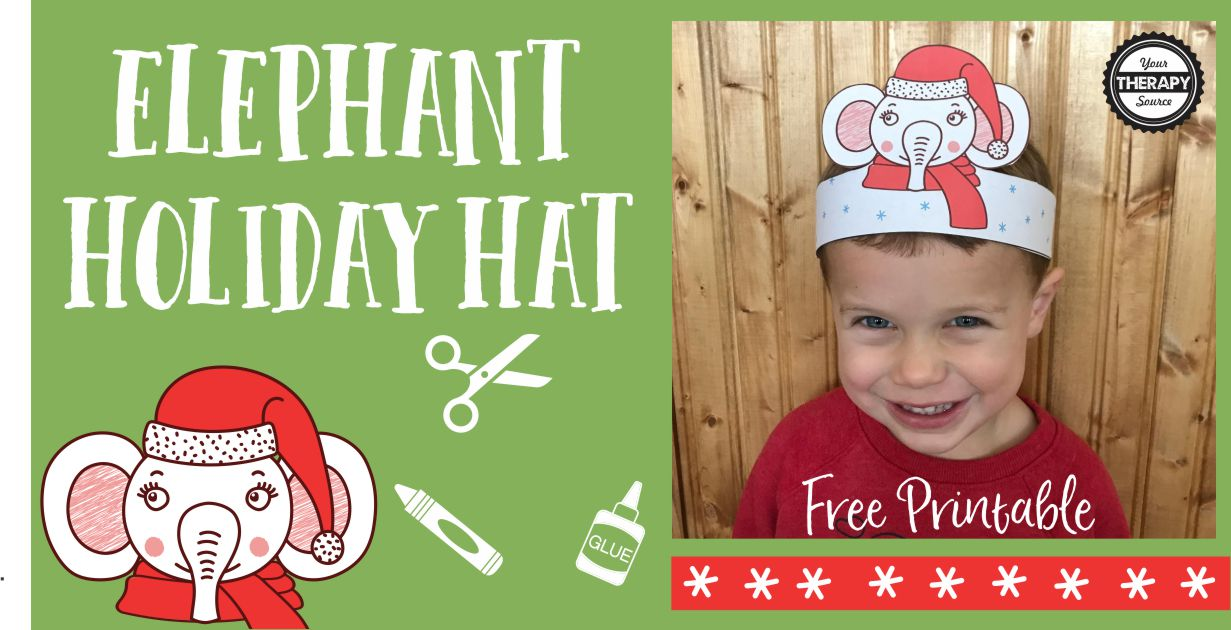 Elephant Holiday Hat - Scissor and Fine Motor Skills