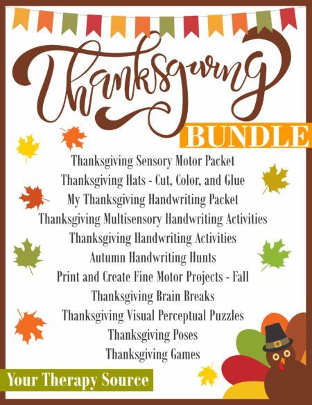 The ThanksgivingBundleincludes 11 digital downloads that encourage fine motor, gross motor, visual perceptual and handwriting skills.