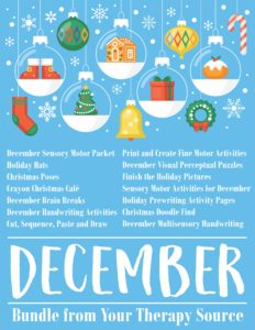 December Bundle Fine Motor Gross Motor Visual Perceptual Activities from Your Therapy Source