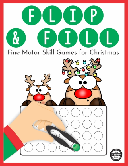The Christmas Fine Motor Game – Flip and Fill digital download includes 10 different Christmas-themed game boards to practice fine motor skills and encourage hand strengthening.