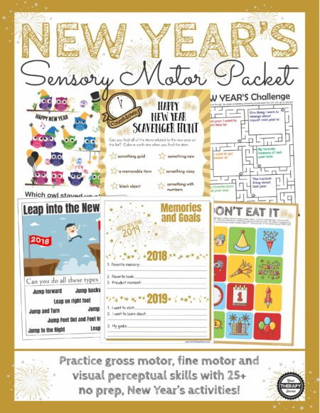 New Year's Sensory Motor Packet: Practice fine motor, gross motor, visual perceptual and handwriting activities with this no-prep, fun, New Year's sensory motor-themed packet.  UPDATED for 2019!
