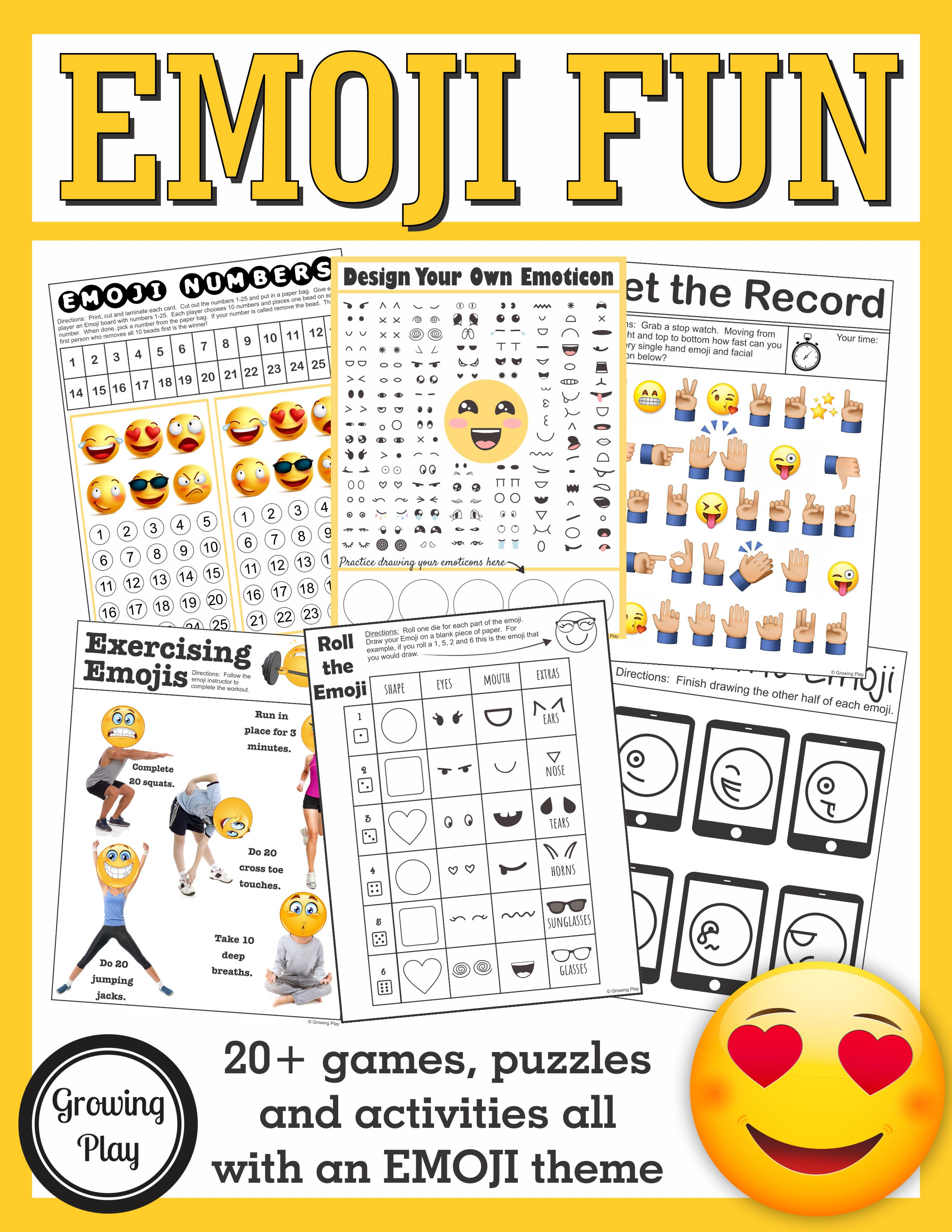 graphic regarding Printable Emoji Games identified as Emoji Sensory Engine Packet - Gross Engine, Good Engine, Visible Perceptual Expertise