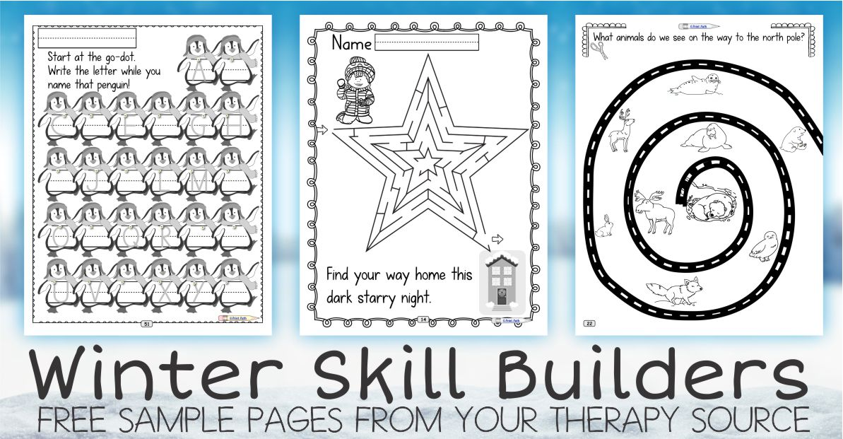 Fine Motor and Executive Function Skills with a Winter Theme from the Winter Skill Builders Packet Three Free Sample Pages