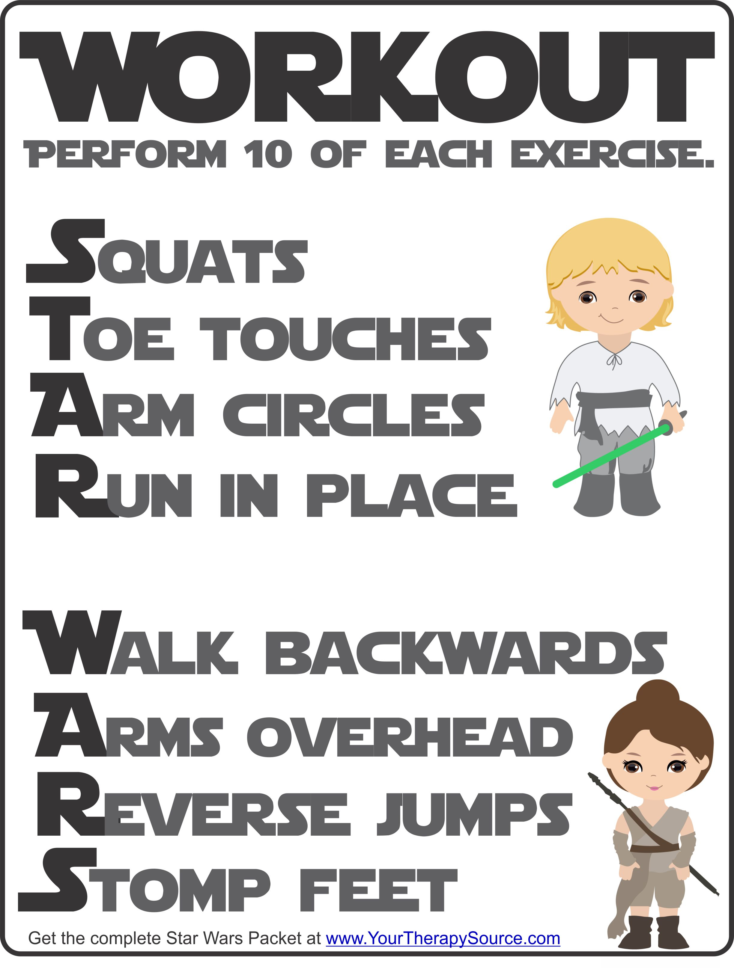 Star Wars Workout freebie from the Star Wars Sensory Motor Packet - Fine Motor, Gross Motor, and Visual Perceptual Activities with a Star Wars Theme