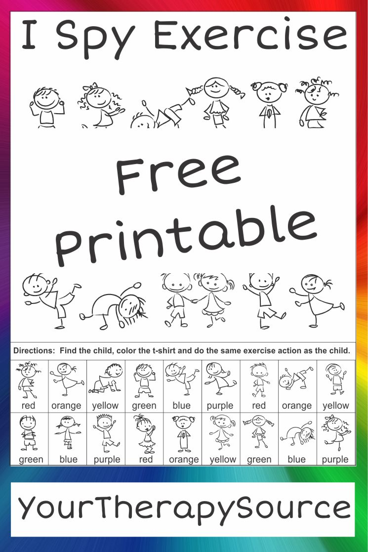 I Spy Exercise Movement and Visual Perceptual Activity Freebie