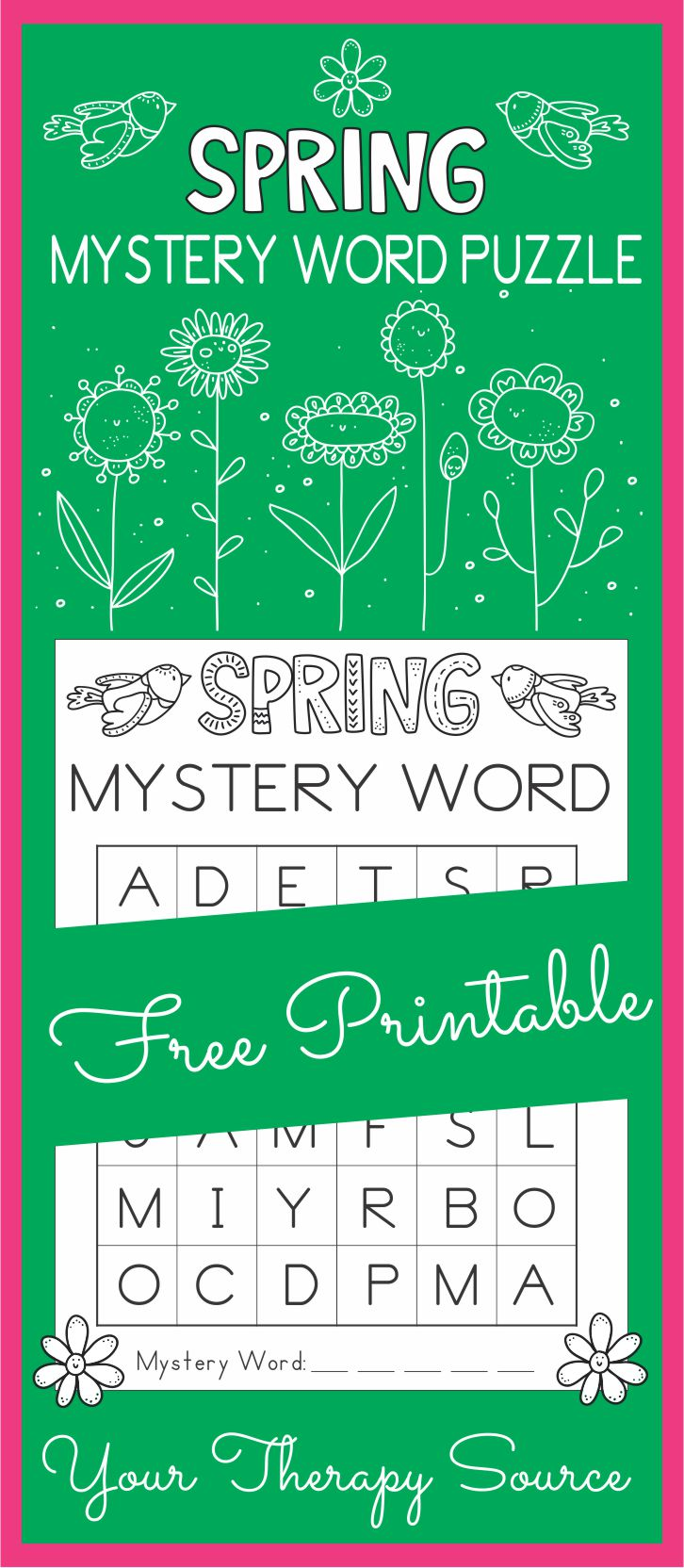 Spring Mystery Word Visual Perceptual Puzzle