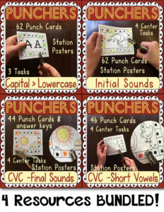 Hole Punch Task Cards BUNDLED: Letter ID, Beginning, Final, & Short Vowel Sounds