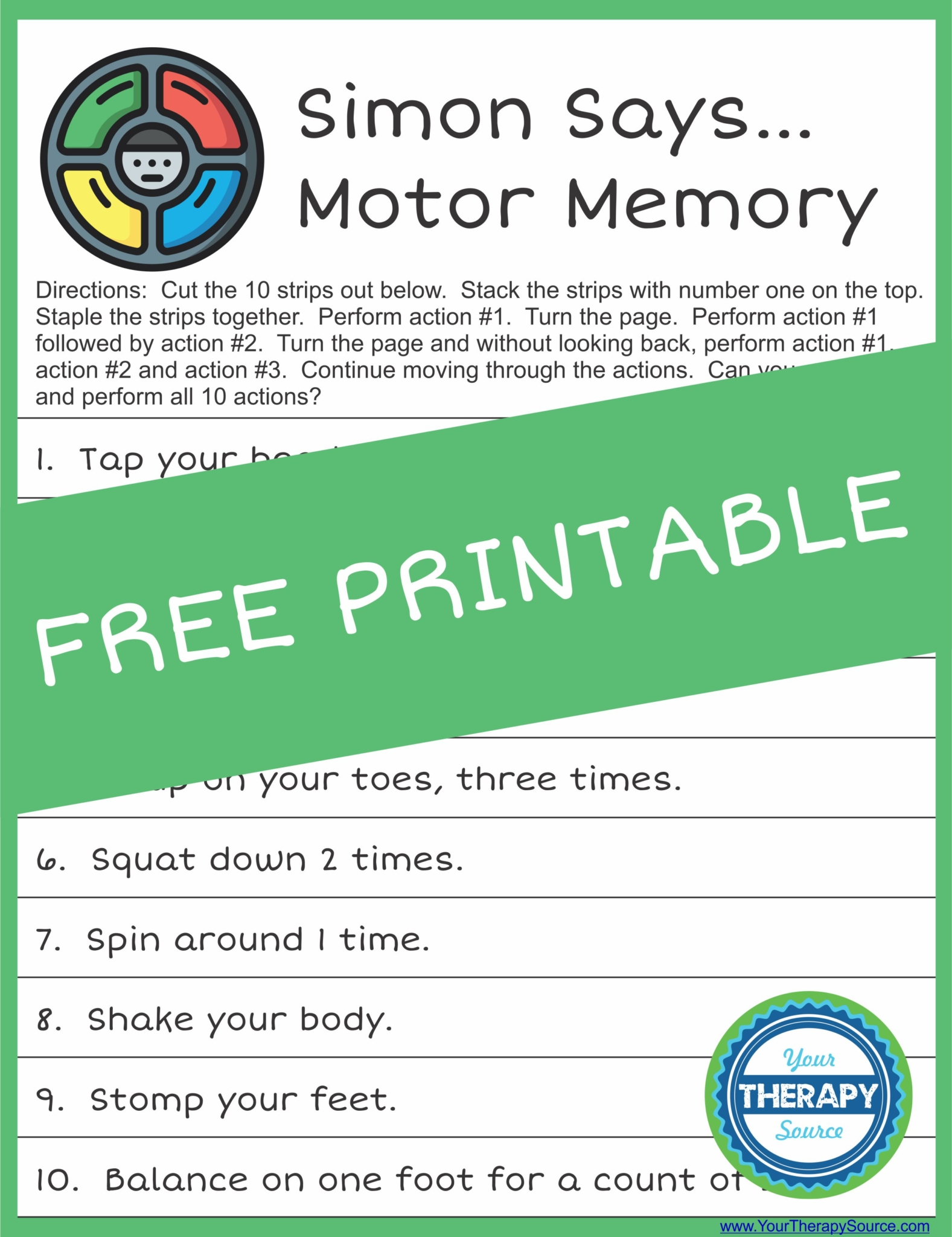 Simon Says Motor Memory Challenge from Your Therapy Source