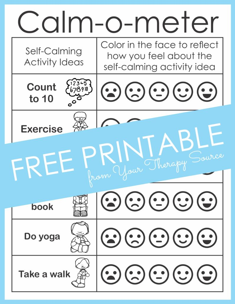 Calm Down Corner Ideas - Free Printables - Your Therapy Source