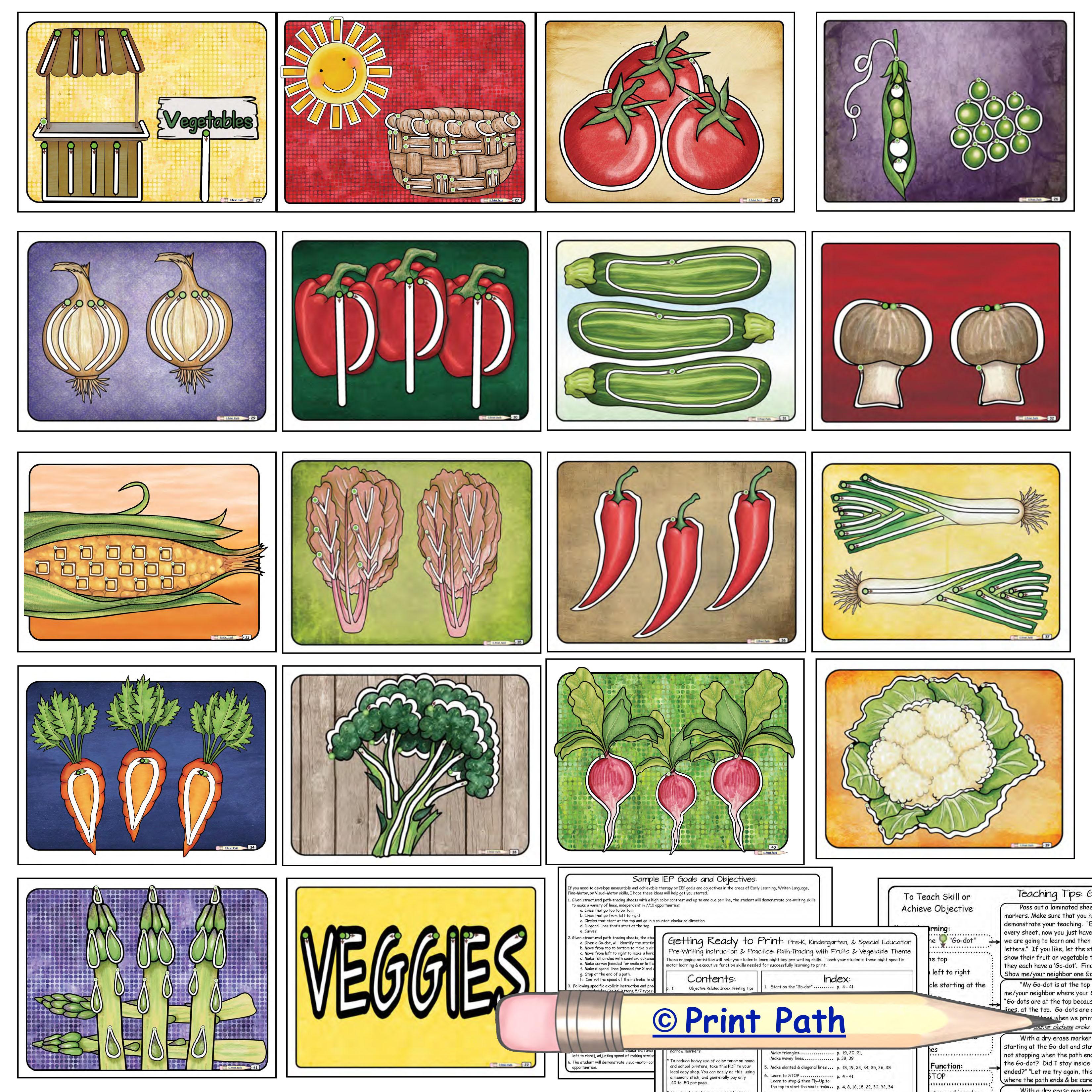 Pre-Handwriting Fruits Vegetables