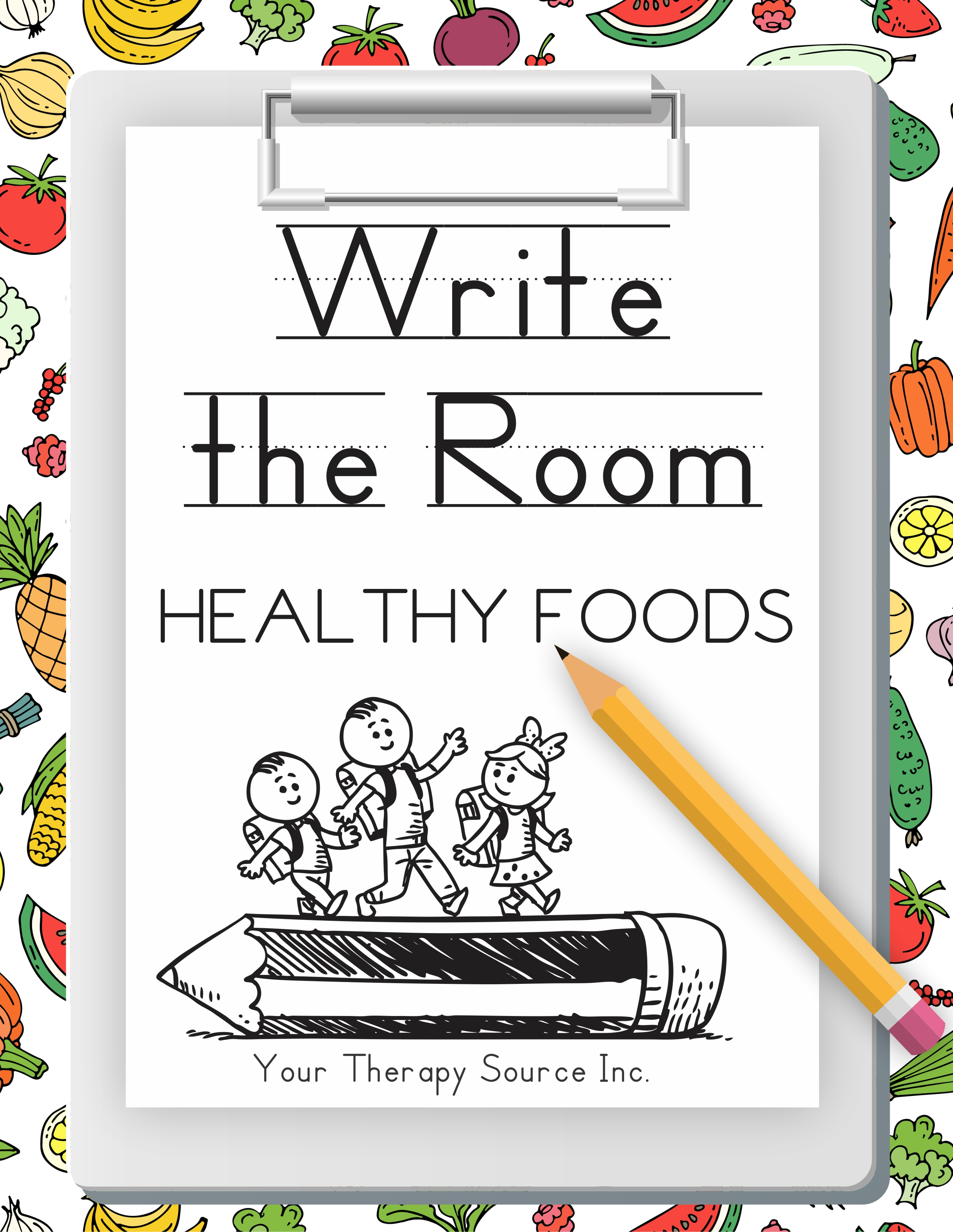 Write the Room Healthy Foods digital download includes 40 healthy food picture word cards from the 5 food groups along with differentiated recording sheets to support various levels of handwriting skills.