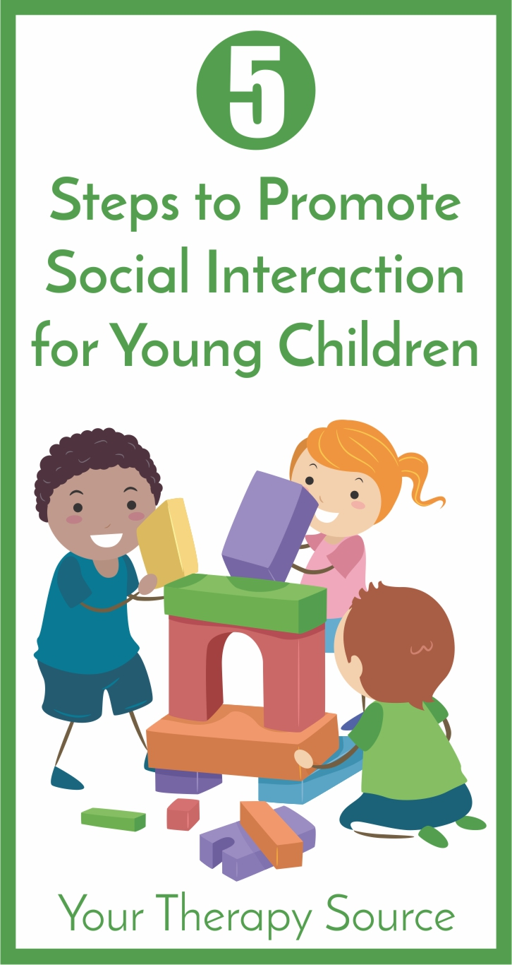 When a child with a disability participates in an inclusive setting, social competence is foundational for peer relationships and learning.  Teachers and therapists need effective, evidence-based strategies to facilitate social skills.  Here are 5 steps to promote social interaction for young children.