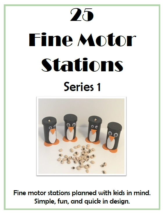 Fine Motor Stations Series 1 digital download includes 25 fun and engaging fine motor activities for children using simple and easily obtained materials.  Written by Regina Parsons-Allen, COTA,  the activities are designed to be intrinsically motivating and quickly engaging while maintaining child interest.