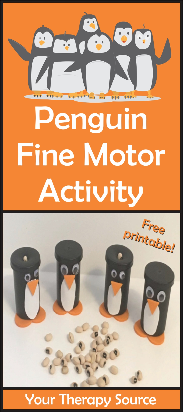 Penguin Fine Motor Activity at Your Therapy Source. Practice fine motor skills, counting, in hand manipulation and more with the fine motor station with a penguin theme. #finemotor