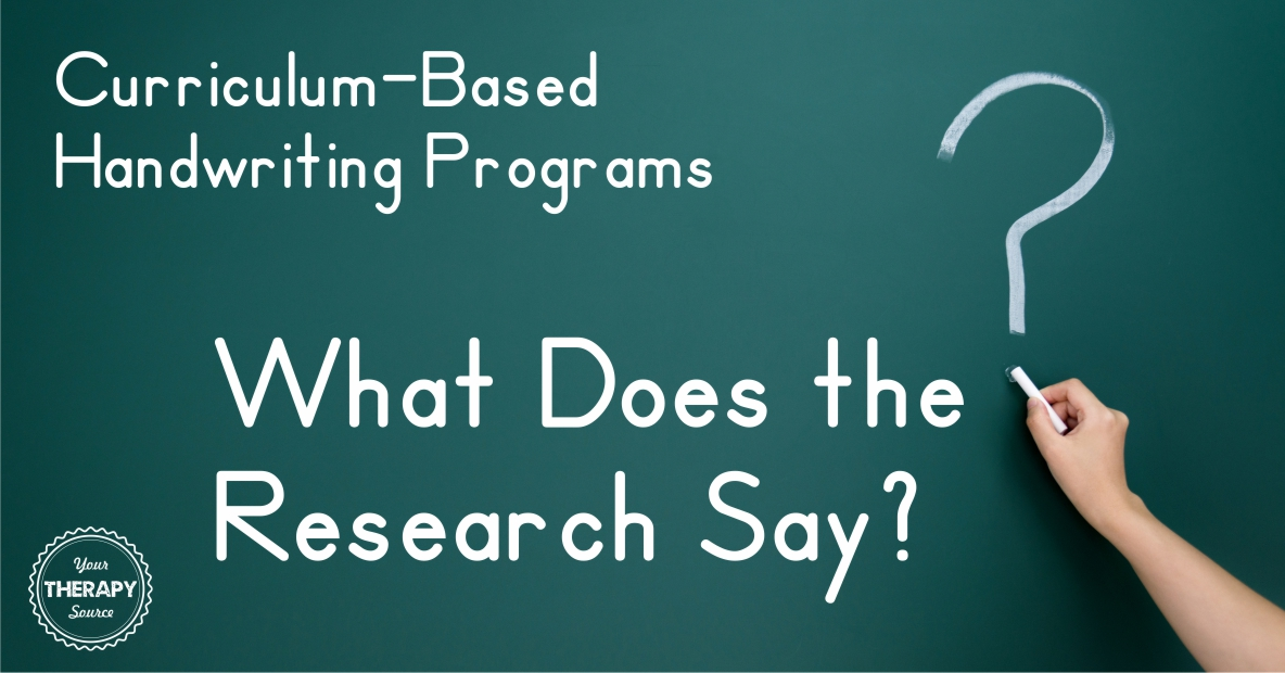 Curriculum-Based Handwriting Programs - What Does the Research Say?