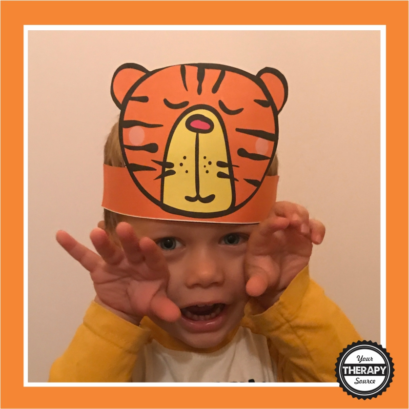 Scissor Skill Freebie - Tiger Hat If you are looking for a quick, cute project to practice coloring, cutting and gluing, download this FREE scissor skills freebie to create a tiger hat.  Not only is the black and white AND color copy free you also get the step by step directions for to follow to complete the activity.