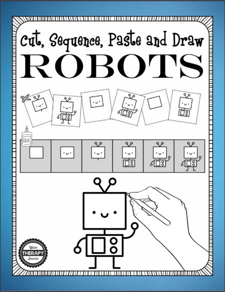 Cut, Sequence, Paste and Draw ROBOTS is a download that includes activities to cut, sequence, paste and learn to draw 15 different robots. This activity encourages scissor practice, fine motor skills, sequencing and visual motor skills.