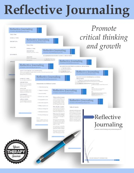 Reflective Journaling for Therapists, Teachers, Parents and Students digital download includes the materials to help you analyze your personal and professional growth. By keeping a record of your ideas, reasons, actions, techniques, and assessments you can play for your future and facilitatea positive outcome.
