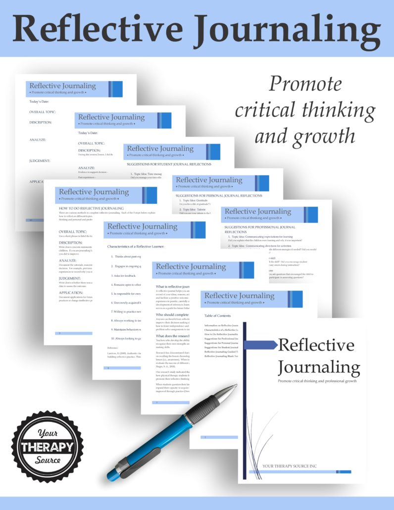 Reflective Journaling for Therapists, Teachers, Parents and Students digital download includes the materials to help you analyze your personal and professional growth.  By keeping a record of your ideas, reasons, actions, techniques, and assessments you can play for your future and facilitate a positive outcome.