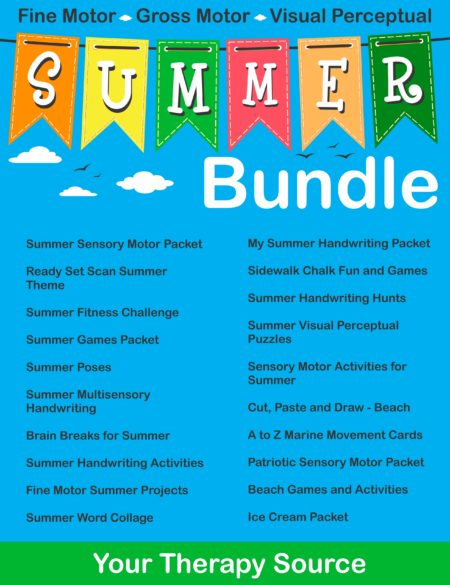 Summer Sensory Motor Bundle from Your Therapy Source - fine motor, gross motor and visual perceptual skills