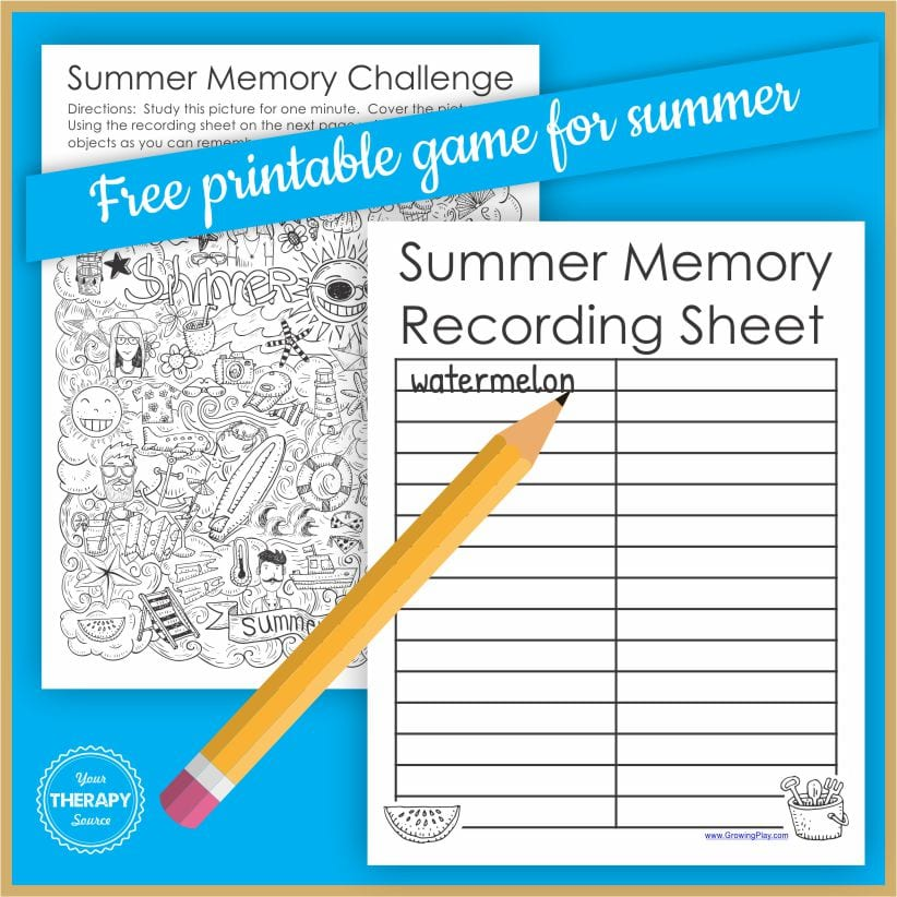 This visual memory game for summer requires zero preparation and is FUN to play. All you need to do is print the game at the bottom of this post.