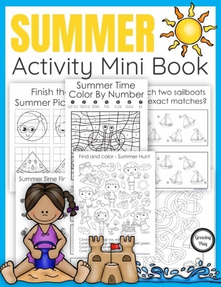 TheSummer Activity Book digital download includes 25 puzzles. mazes, and more all with a fun Summer theme. No prep needed – just print and play!