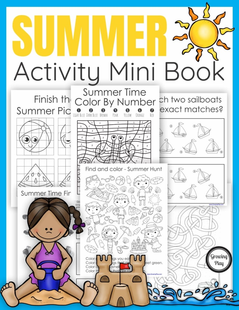 The Summer Activity Book digital download includes 25 puzzles. mazes, and more all with a fun Summer theme.  No prep needed – just print and play!