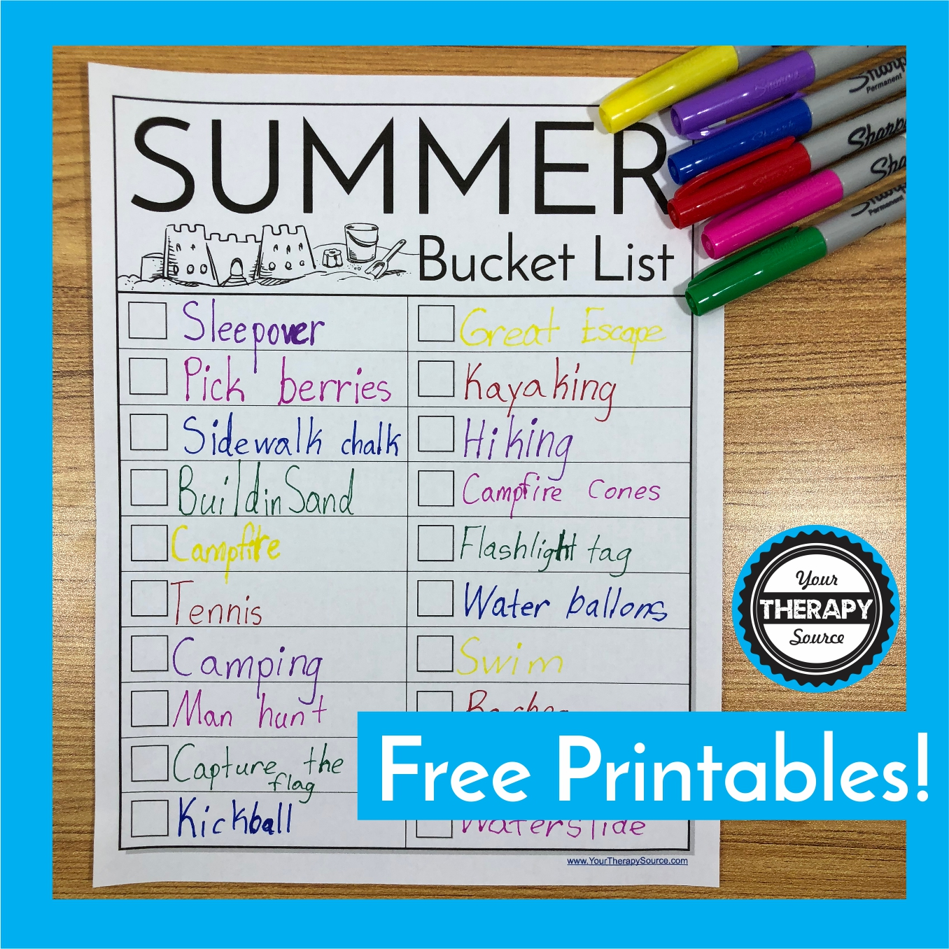 Encourage children to enjoy all that summer has to offer and create a DIY summer bucket list.  A bucket list should include all the activities, games, crafts, etc. that the child would like to complete this summer.  There are no right or wrong answers.  Not only will this activity be fun, it will sneak in handwriting practice.  Children will be motivated to create a list of all the exciting things they would like to accomplish with this DIY summer bucket list handwriting freebie