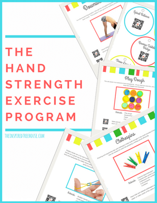The Hand Strengthening Exercise Program, created by Claire Heffron OTR/L and Lauren Drobnjak PT, includes fun and creative hand exercises and activities for kids to help them build strength in the hands and fingers!