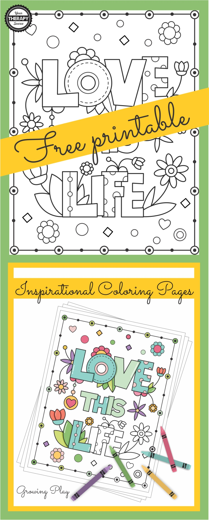 Do you enjoy coloring?  I do find it relaxing and calming unless they are too intricate.  For some, if you were to color just one page it would take hours and hours.  This FREE Love this Life inspirational coloring page freebie is simple with a beautiful message and it won't take hours to complete