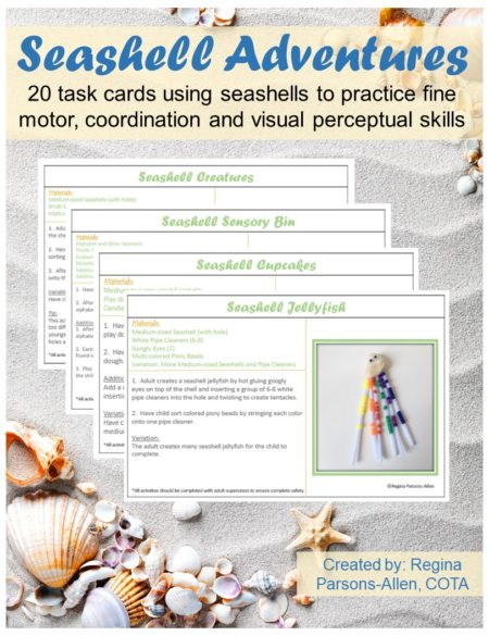 Seashell Adventure Task Cards includes 20 fine motor, bilateral coordination, and visual perceptual activity ideas.  Each page includes 2 task cards to print.  All of the activities include seashells. Use the task cards for fine motor stations, independent work stations or indoor play on a rainy day.