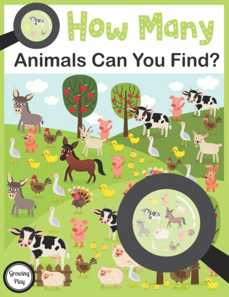 How Many Animals Can You Find is a FUN game to challenge children to use their visual discrimination and counting skills to find all the animals in the pictures. The digital download includes 10 full-color games to download and play. The game can be modified depending on the child's age level.