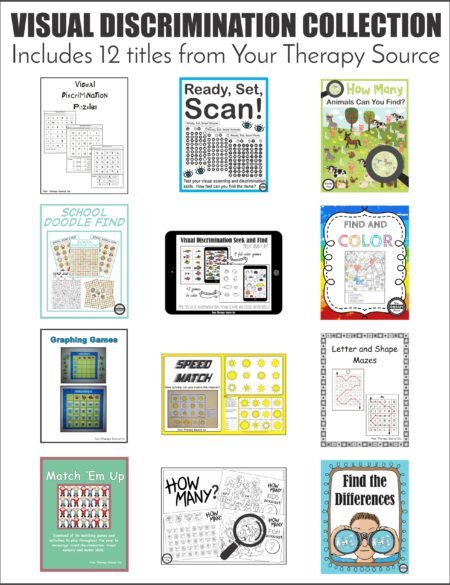 Do your students struggle with recognizing similarities and differences between shapes, size, colors, objects, and patterns? The visual discrimination collection includes 12 titles to practice visual perceptual skills.