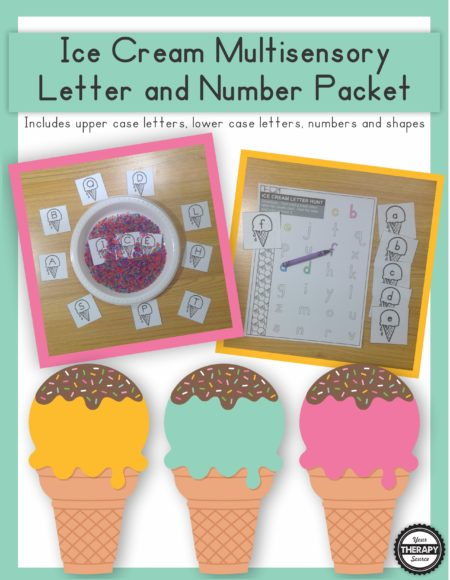 The Ice Cream Multisensory Prewriting Practice Packet digital download includes various activities to support prewriting skills and letter identification.