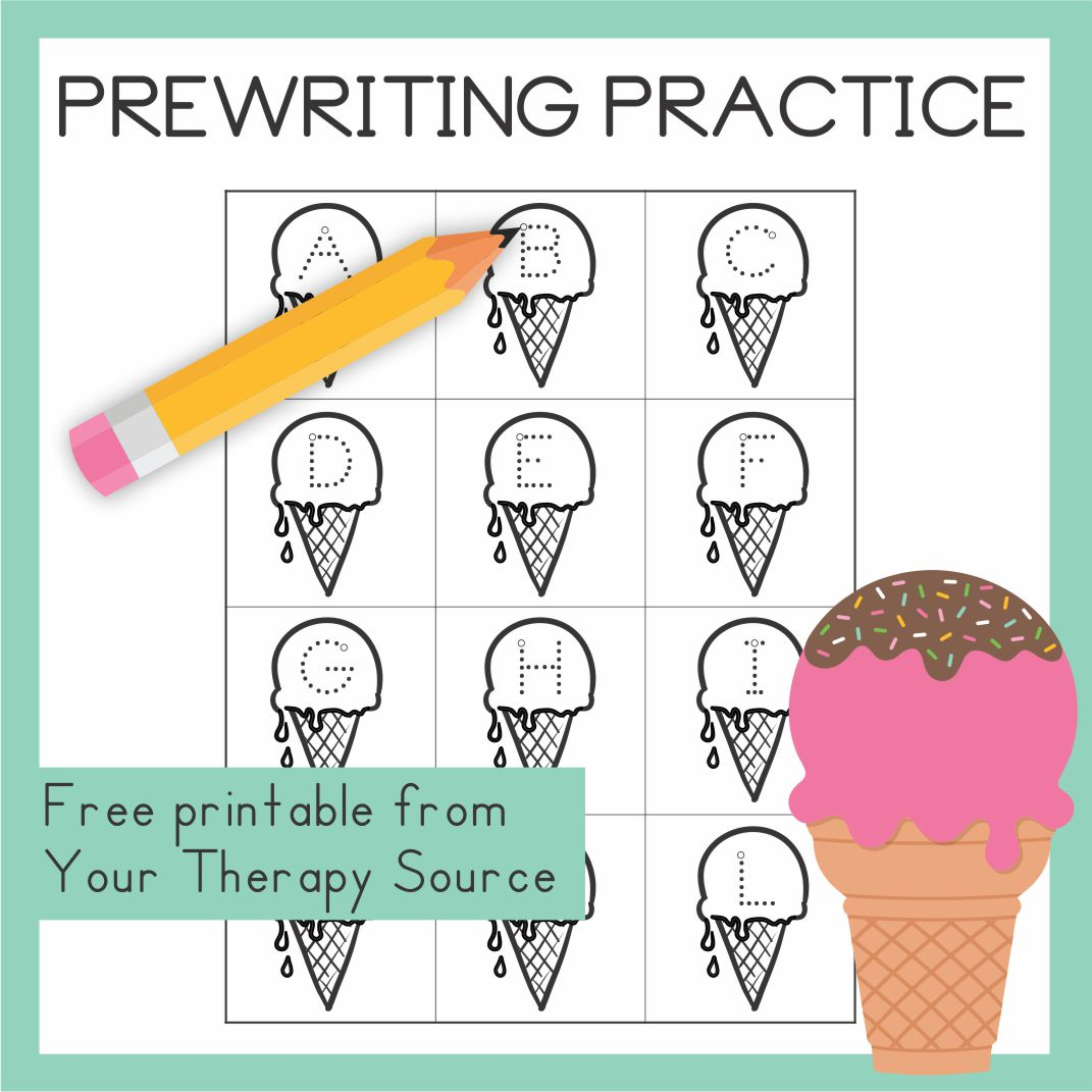 If you are looking for some quick, multisensory prewriting practice, download this ice cream cone letter freebie from the Ice Cream Multisensory Prewriting Practice packet.