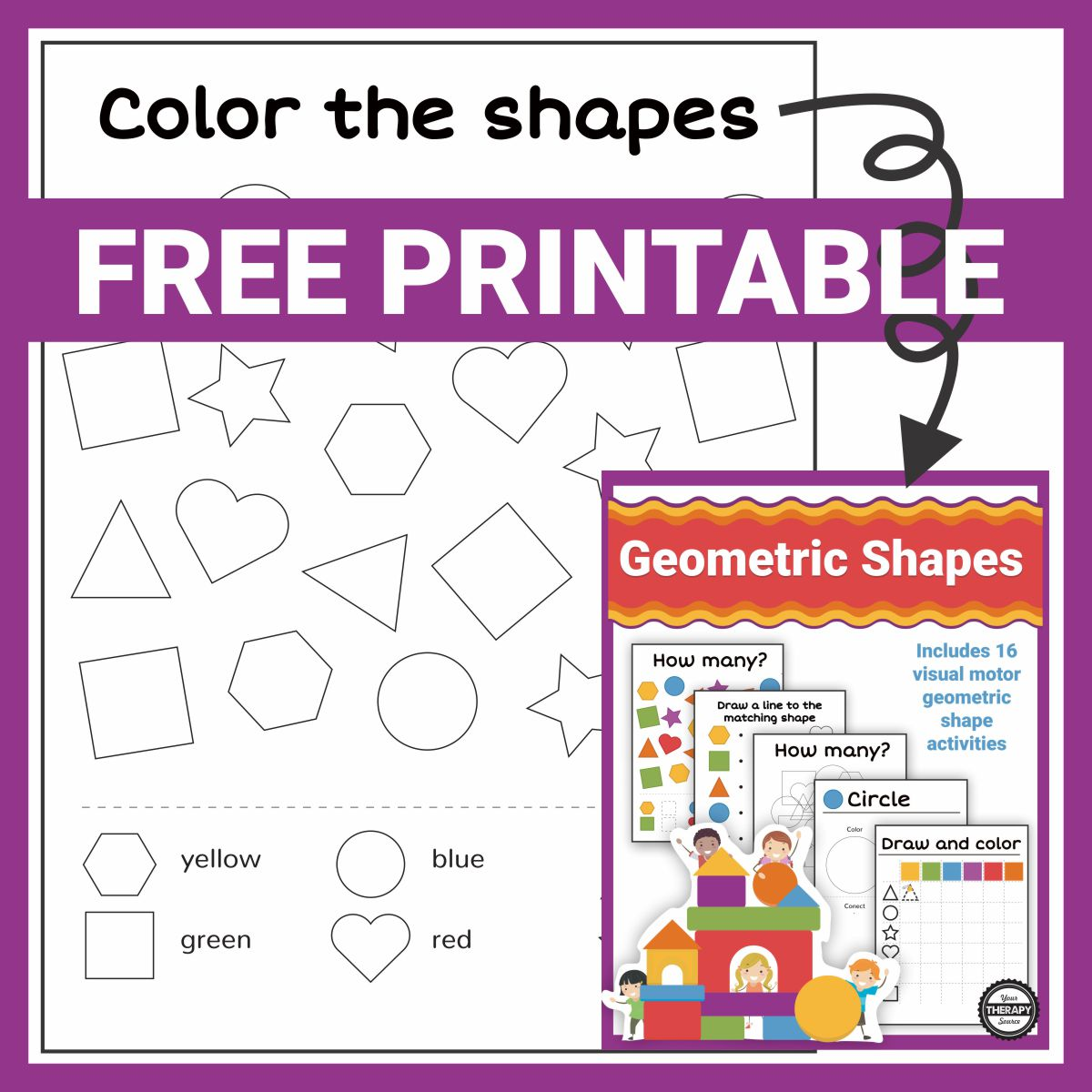 This color the geometric shapes freebie is from the Shapes Mini Packet.