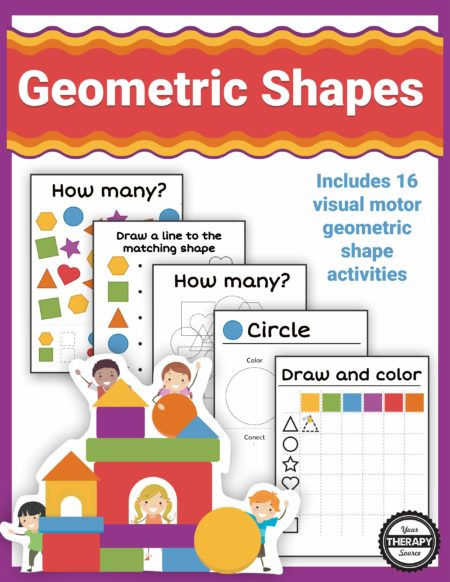This Shape Mini Packet includes 16 visual motor geometric shape activities.  Practice shape identification, pre-writing skills, counting, visual motor, figure-ground, visual memory, and visual discrimination skills.