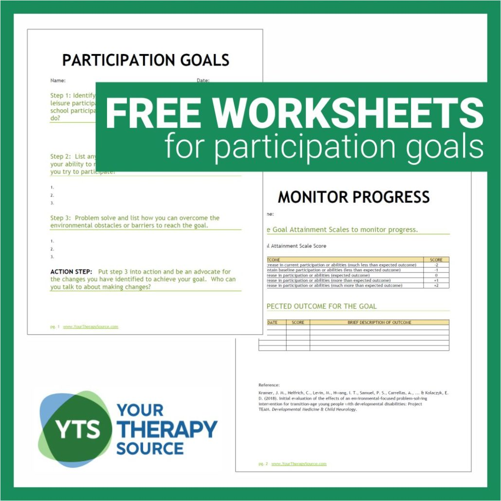 Participation Goals and Worksheets for Young People with Disabilities